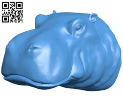 Hippo head B006284 download free stl files 3d model for 3d printer and CNC carving