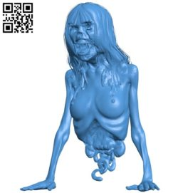 Horrible zombie B005837 download free stl files 3d model for 3d printer and CNC carving