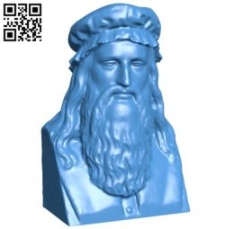 Leonardo Da Vinci Bust B005979 download free stl files 3d model for 3d printer and CNC carving
