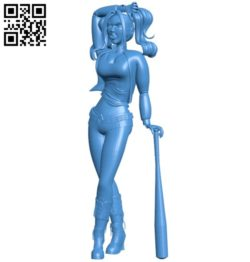 Miss Harley Quinn B005854 download free stl files 3d model for 3d printer and CNC carving