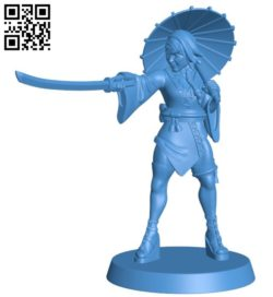 Miss kunoichi B006034 download free stl files 3d model for 3d printer and CNC carving