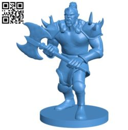 Orc warrior B005937 download free stl files 3d model for 3d printer and CNC carving