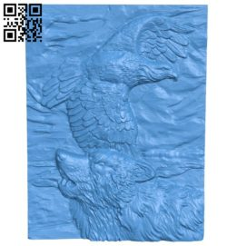 Panel eagle and wolf A004319 download free stl files 3d model for CNC wood carving