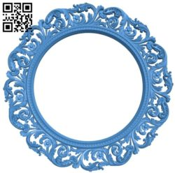 Picture frame or mirror circular A004217 download free stl files 3d model for CNC wood carving