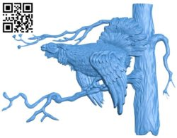 Picture wild chicken perched on a tree branch A004229 download free stl files 3d model for CNC wood carving