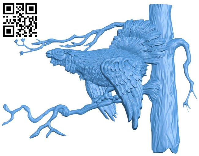 Picture wild chicken perched on a tree branch A004228 download free stl files 3d model for CNC wood carving