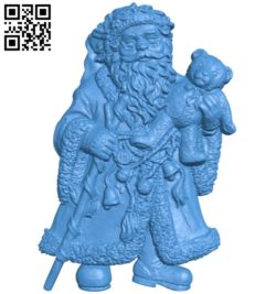 Santa Claus and teddy bear A004353 download free stl files 3d model for CNC wood carving