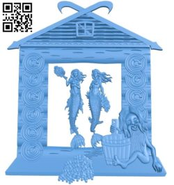 The painting of the old man bathing with two mermaids A004272 download free stl files 3d model for CNC wood carving