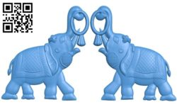 Two elephants A004270 download free stl files 3d model for CNC wood carving