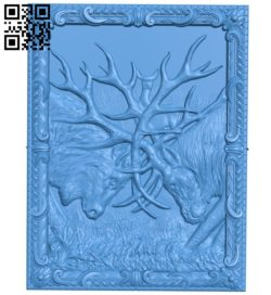 Two male deer butting each other A004206 download free stl files 3d model for CNC wood carving