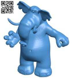 Cartoon elephant B006460 file stl free download 3D Model for CNC and 3d printer