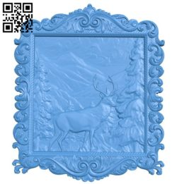 Deer painting in the forest A004533 download free stl files 3d model for CNC wood carving