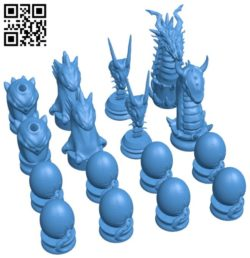 Dragon Chess B006459 file stl free download 3D Model for CNC and 3d printer