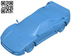 Ferrari F40 car B006303 download free stl files 3d model for 3d printer and CNC carving