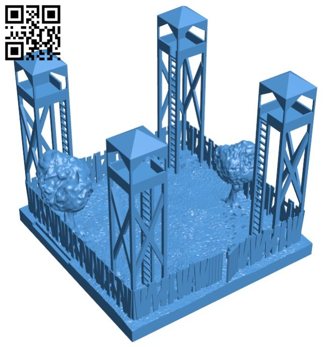 Fort - house B003362 file stl free download 3D Model for CNC and 3d printer