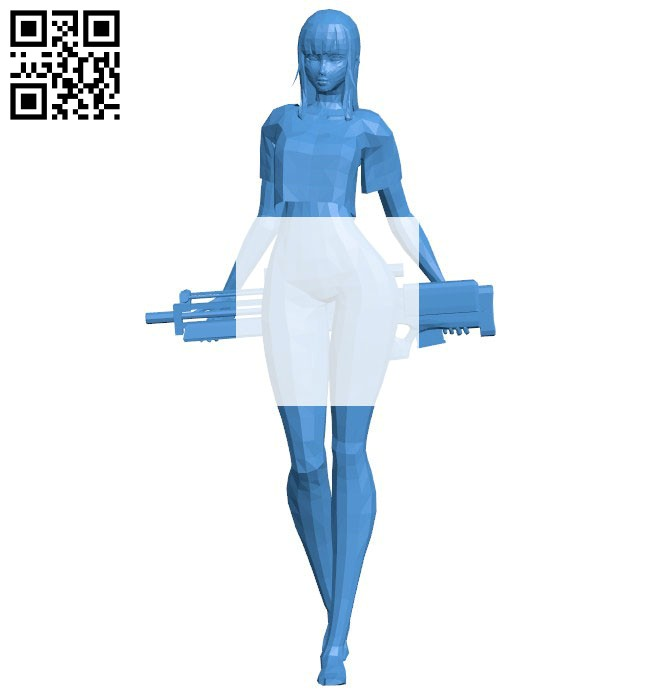 Miss D.Va with blaster B006629 file stl free download 3D Model for CNC and 3d printer