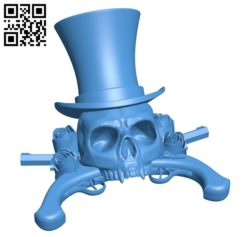 Skull and gun B006326 download free stl files 3d model for 3d printer and CNC carving