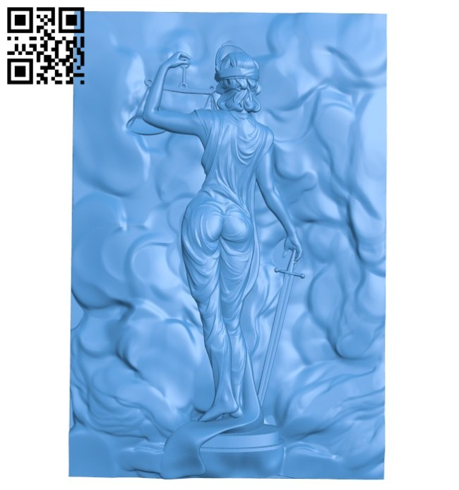 The picture behind the god of justice A004555 download free stl files 3d model for CNC wood carving