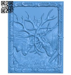 The picture of two deer colliding A004534 download free stl files 3d model for CNC wood carving