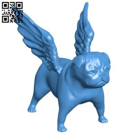 Winged Pug B006513 file stl free download 3D Model for CNC and 3d printer