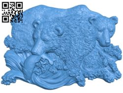 Bear catches fish by the stream A004689 download free stl files 3d model for CNC wood carving