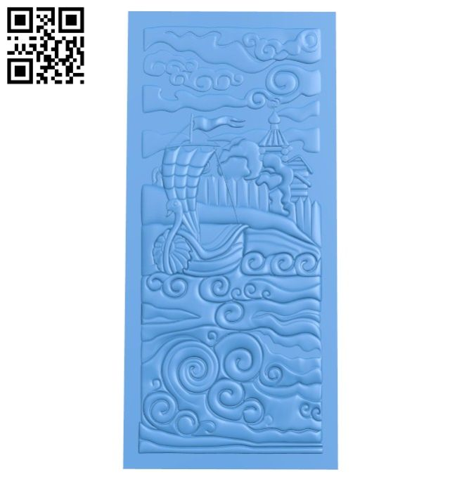 Castle and boat at sea A004645 download free stl files 3d model for CNC wood carving