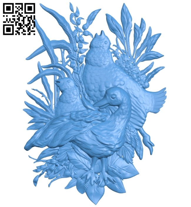Chicken and duck painting A004685 download free stl files 3d model for CNC wood carving