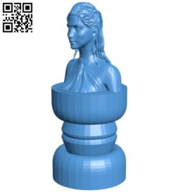 Daenerys queen – Chess B007000 file stl free download 3D Model for CNC and 3d printer