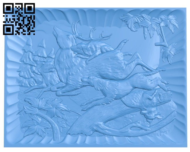 Deer hunting dog painting A004679 download free stl files 3d model for CNC wood carving