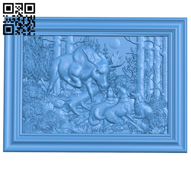 Deer hunting dog painting A004683 download free stl files 3d model for CNC wood carving
