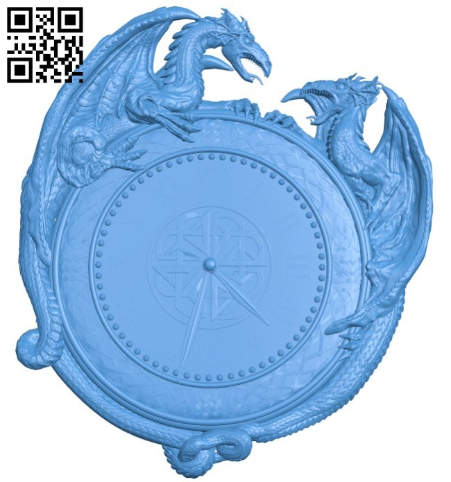 Dragon clock pattern A004631 download free stl files 3d model for CNC wood carving