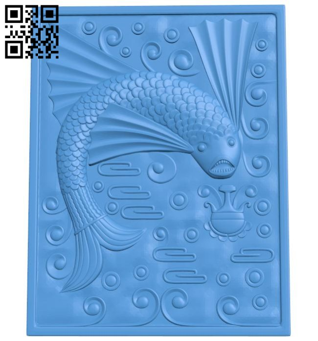 Fish painting A004641 download free stl files 3d model for CNC wood carving
