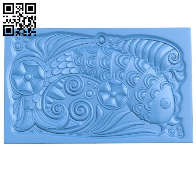 Fish painting A004642 download free stl files 3d model for CNC wood carving
