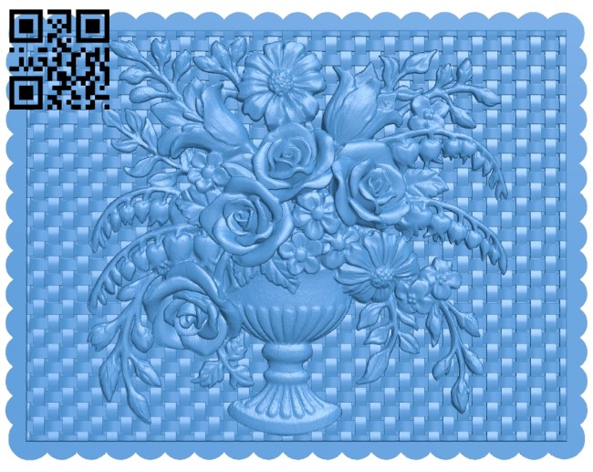 Flower vase painting A004663 download free stl files 3d model for CNC wood carving