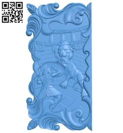 Gladiator vs lion's door A004627 download free stl files 3d model for CNC wood carving