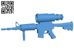 Gun M4A1 with PVS-4 B006712 file stl free download 3D Model for CNC and 3d printer