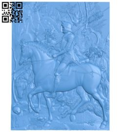 Horse-riding warrior A004739 download free stl files 3d model for CNC wood carving