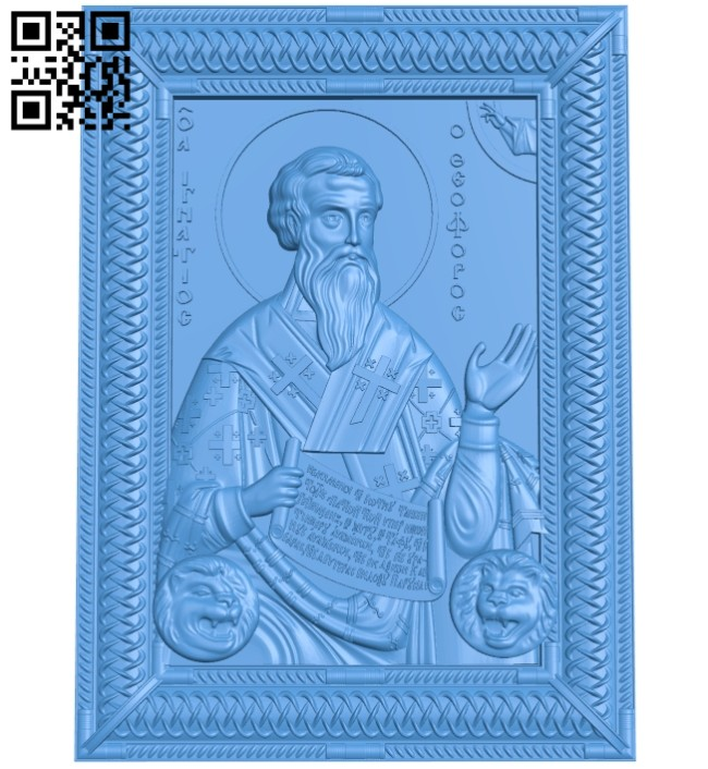 Icon of Saint Ignatius the God-bearer A004699 download free stl files 3d model for CNC wood carving