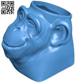 Monkey shaped vase B006939 file stl free download 3D Model for CNC and 3d printer