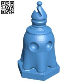 Pac ghost Bishop – pacman chess B007063 file stl free download 3D Model for CNC and 3d printer