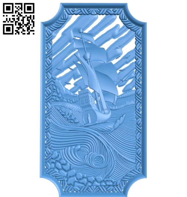 Pattern of the ship's door frame A004705 download free stl files 3d model for CNC wood carving