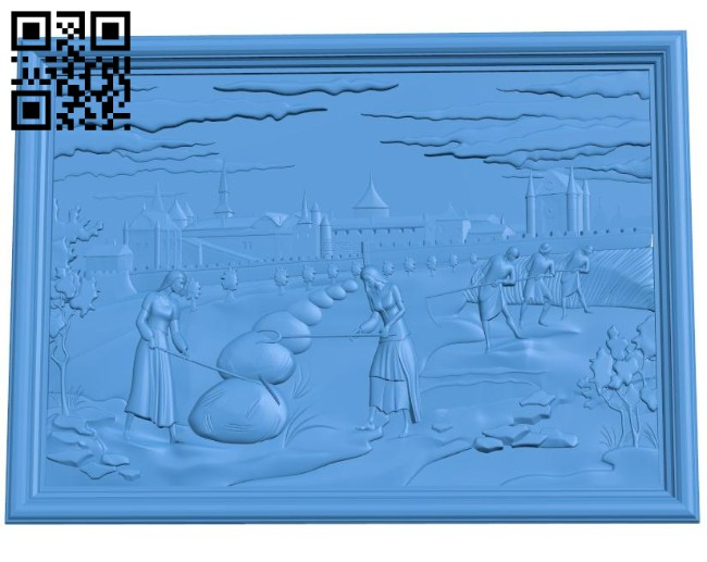 Picture of women in the field A004639 download free stl files 3d model for CNC wood carving