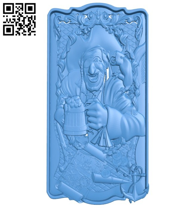 Pirate door A004629 download free stl files 3d model for CNC wood carving