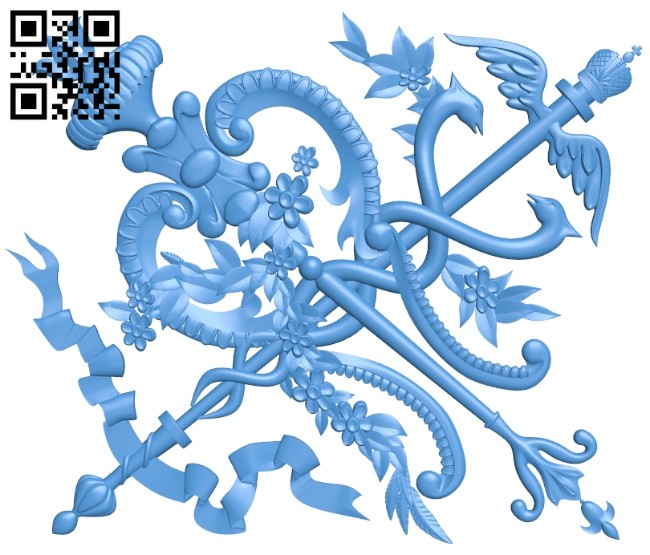 Powerful shape pattern A004723 download free stl files 3d model for CNC wood carving