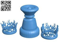 Queen crowns – Chess B007008 file stl free download 3D Model for CNC and 3d printer
