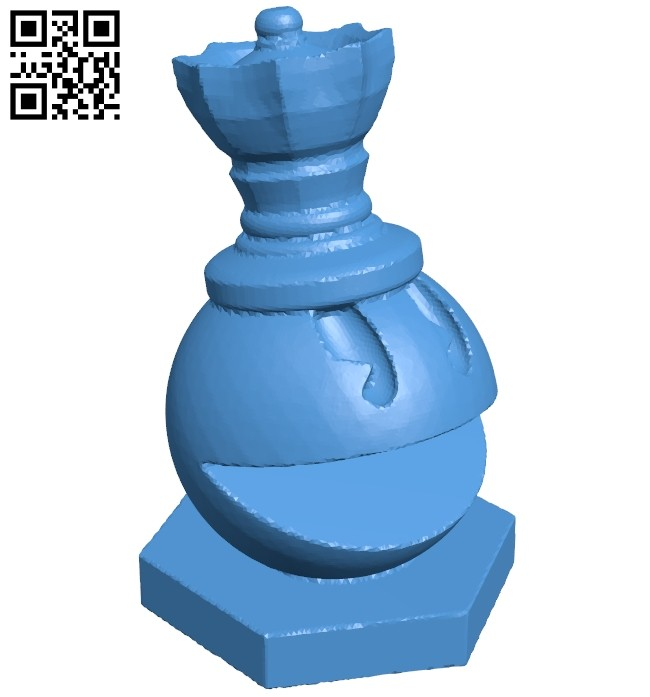 Queen - pacman chess B007076 file stl free download 3D Model for CNC and 3d printer