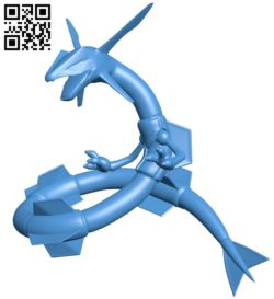 Rayquaza Pokemon B006837 file stl free download 3D Model for CNC and 3d printer