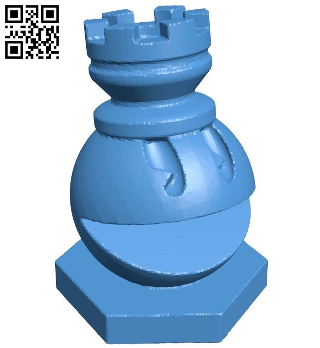 Rook - pacman chess B007077 file stl free download 3D Model for CNC and 3d printer