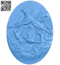 The jungle chicken painting A004684 download free stl files 3d model for CNC wood carving