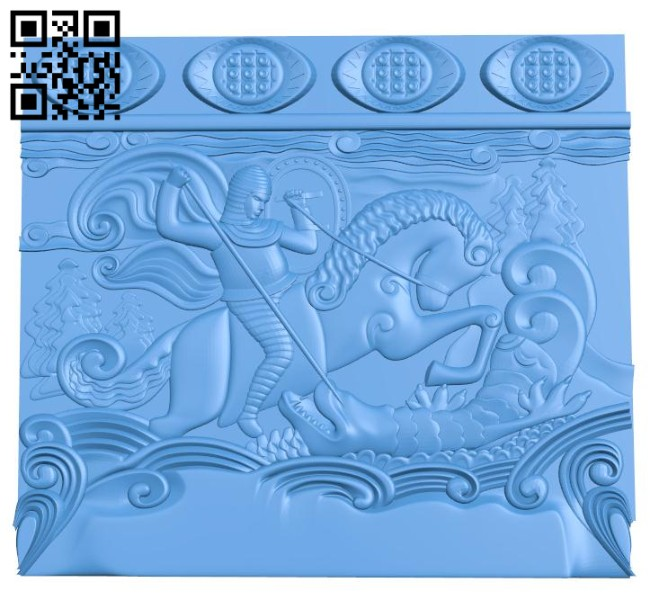The painting of the heroic dragon destroying A004640 download free stl files 3d model for CNC wood carving